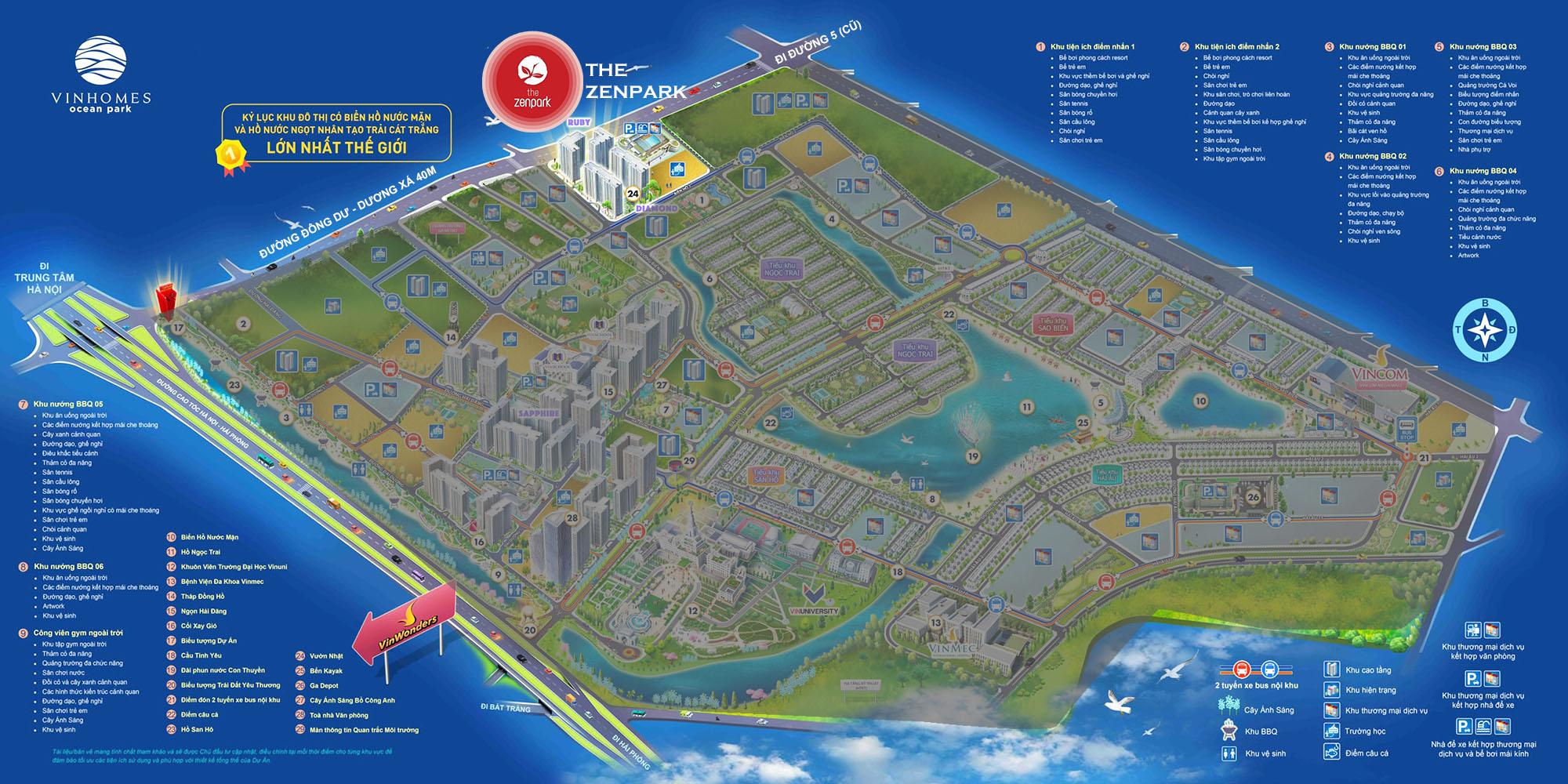 vị trí phân khu the zenpark vinhomes ocean park